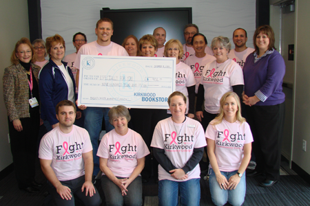 In December 2014, the Kirkwood Bookstore and EagleTech presented EFY with a check for $902.55 in proceeds from the pink shirts they are wearing. Thank you!